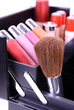 Makeup brush in box Royalty Free Stock Image