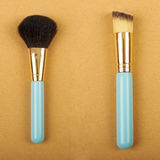 Makeup brush and cosmetic blush. Royalty Free Stock Image