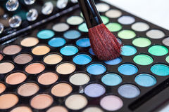 Makeup brush with cosmetic Royalty Free Stock Photography