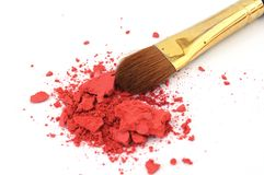 Makeup brush and cosmetic powder Stock Images