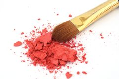 Makeup brush and cosmetic powder Royalty Free Stock Images