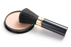 Makeup brush and cosmetic powder compact Stock Image