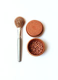 Makeup brush and cosmetics. On white background royalty free stock image