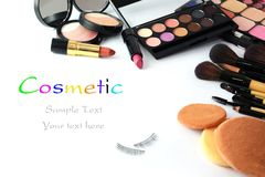 Makeup brush and cosmetics, Royalty Free Stock Image