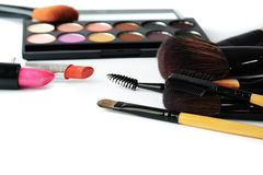 Makeup brush and cosmetics, Stock Images