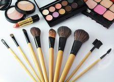 Makeup brush and cosmetics, Royalty Free Stock Photography