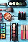 Makeup brush and cosmetics Royalty Free Stock Images