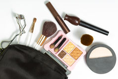 Makeup brush and cosmetics Royalty Free Stock Photography
