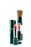 Makeup brush and cosmetics set on a white background Royalty Free Stock Image