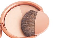 Makeup brush and cosmetics. Travel set with powder blush and brush stock photos