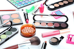 Makeup brush and cosmetics Stock Image