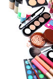 Makeup brush and cosmetics Stock Images