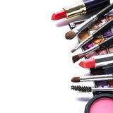 Makeup brush and cosmetics Stock Photography