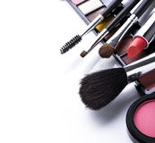Makeup brush and cosmetics Stock Photos