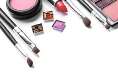 Makeup brush and cosmetics Royalty Free Stock Photos