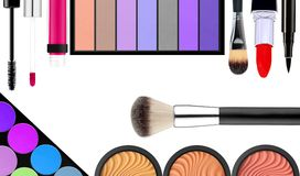 Makeup brush and cosmetics, on a white background isolated Stock Images