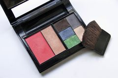 Eye-shadows and makeup brush and cosmetics, on a white background , stock images