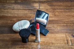 Makeup brush and cosmetics Royalty Free Stock Photo