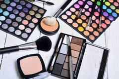 Makeup brush and cosmetics stock photos