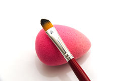 Makeup brush and cotton Royalty Free Stock Images
