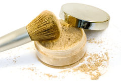 Makeup Brush in Foundation Powder with Lid Royalty Free Stock Photo