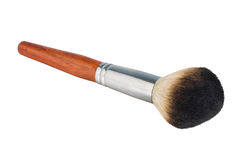 Makeup brush. Isolated makeup brush with brown handle stock photo