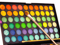Makeup brush and make-up eye shadows palette Stock Photo