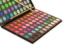 Makeup brush and make-up eye shadows palette Stock Photo