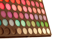 Makeup brush and make-up eye shadows palette Stock Images