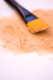 Makeup brush and mousse/compact foundation Royalty Free Stock Photography