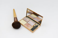 Makeup Brush & Palette. Makeup Brush and Palette with mirror, isolated on a white background royalty free stock photography
