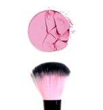 Makeup brush with pink blush. Stock Image