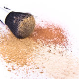 Makeup brush and powder Royalty Free Stock Images