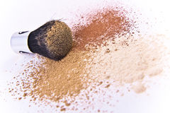 Makeup brush and powder Royalty Free Stock Image
