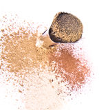 Makeup brush and powder Stock Images