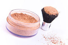 Makeup brush and powder Stock Image