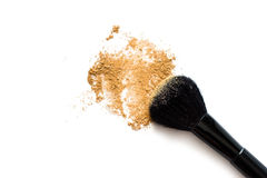Makeup brush and powder Royalty Free Stock Photo