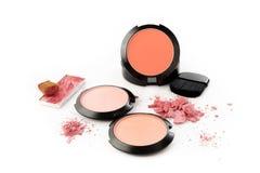 Makeup brush and powder Royalty Free Stock Image