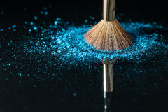 Makeup brush on professional cosmetic on background with colorfu Royalty Free Stock Photos