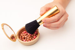 Makeup brush and rouge Royalty Free Stock Photo