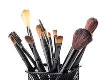Makeup brush set in a beaker Stock Photography