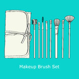 Makeup Brush Set Stock Image