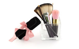 MAKEUP BRUSH SET WITH CASE Royalty Free Stock Photos