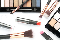 Makeup brush set with eye shadow palette on white Royalty Free Stock Photo