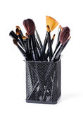 Makeup brush set in a glass Royalty Free Stock Photos