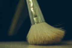 Makeup brush on tabel. Makeup brush on background of tabel. Make-up background Royalty Free Stock Photo