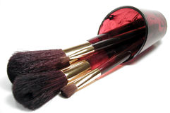 Makeup Brushes. Spilling out of a matching faux tortoise-shell container Royalty Free Stock Photo