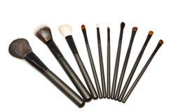Makeup brushes. Set isolated on white Royalty Free Stock Photography