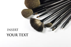 Makeup Brushes. Makeup brushes on a white background Stock Images