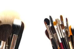 Makeup brushes. Colorful makeup brushes  isolated on white Stock Photos